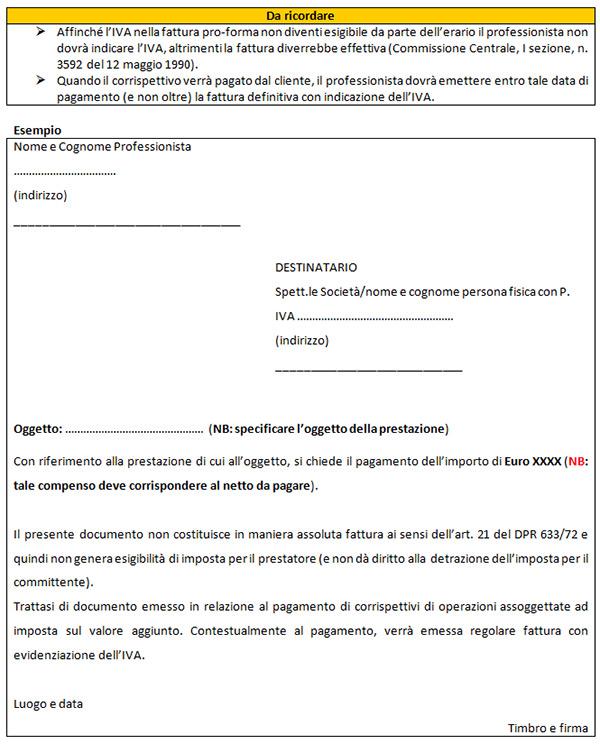 La fattura del professionista al cliente per il pagamento for Calcola imposta di registro