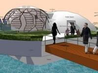 News: Waterpod: progetto di casa galleggiante ecocompatibile  - Lo ha concepito un gruppo di progettisti  americani. Ultima frontiera del design e della progettazione per scampare l'eventuale pericolo della crescita del livello del mare causata del riscaldamento globale. L'idea alla base del progetto - edificio che naviga sfruttando l'energia eolica e fotovoltaica - non � per� del tutto nuova.